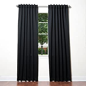 """Best Home Fashion Thermal Insulated Blackout Curtains - Back Tab/ Rod Pocket - Black - 52""""W x 84""""L - No tie backs (Set of 2 Panels)"""