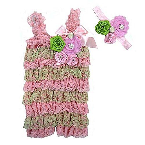 Baby Elegant Rosettes Pearl Lace Petti Romper Headband Set Small Lime Pink