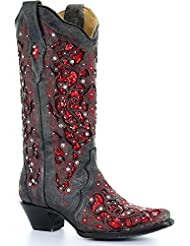 CORRAL Womens Crystal and Sequin Inlay Cowgirl Boot Snip Toe - A3534