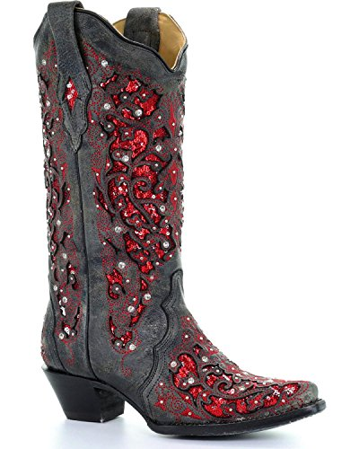 CORRAL Women's Crystal and Sequin Inlay Cowgirl Boot Snip Toe Black 7.5 M
