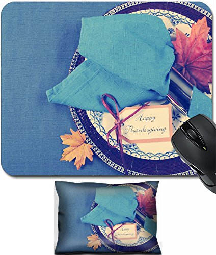 MSD Mouse Wrist Rest and Small Mousepad Set, 2pc Wrist Support design: 32340026 Vintage style Happy Thanksgiving dining table place setting with vintage plate and dark blue napkin (Place Napkin Setting)
