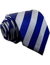 Men's Classic Striped Blue Grey Jacquard Woven Silk Tie Formal Necktie