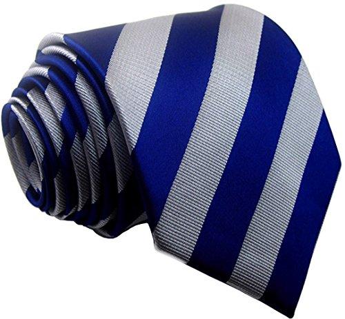 Secdtie Men's Classic Striped Blue Grey Jacquard Woven Silk Tie Formal - Blue Classic Grey