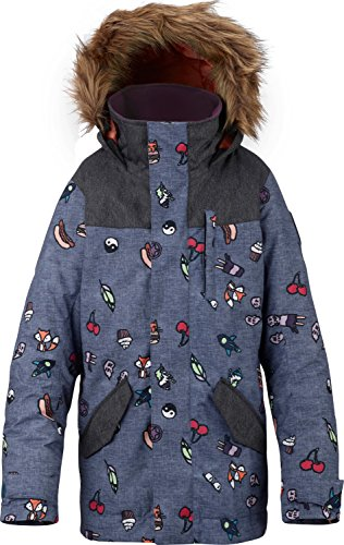 Burton Youth Girls Aubrey Parka Jacket, Burger Cat/Denim, (Burton Girls Fleece Jacket)