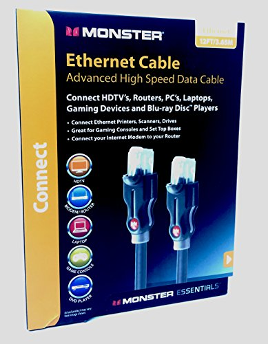 Monster Cable Cat 6 12ft 3.65m Ethernet Cable / Patch Cable supports Cat5 Cat5e Cat6 140791