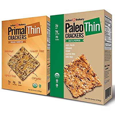 Paleo & Primal Thin Crackers) (Salt & Pepper & Parmesan) (Organic, Low Carb, Gluten Free, Grain Free)(Variety 2 Pack)