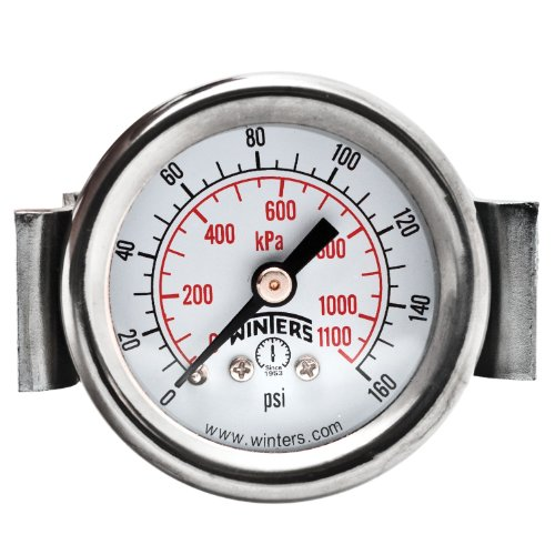 (Winters PEU Series Steel Dual Scale Economy Panel Mounted Pressure Gauge, 0-160 psi/kpa, 1-1/2