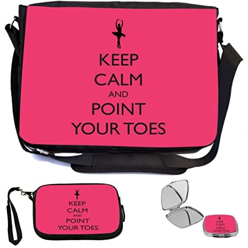Rikki Knight Keep Calm and Point your Toes Tropical Pink Ballet Design COMBO Multifunction Messenger Laptop Bag - with padded insert for School or Work - includes Wristlet & Mirror