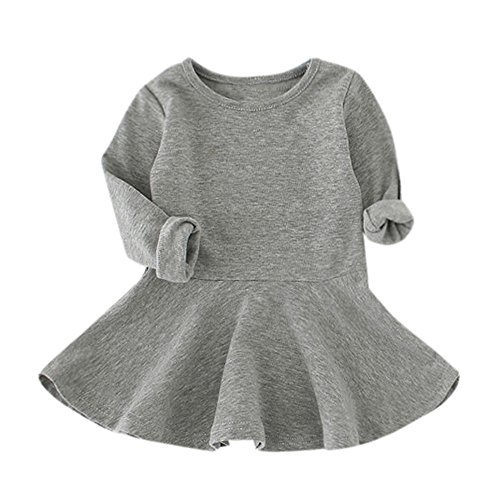 ❤️Mealeaf❤️ Baby Girls Candy Color Long Sleeve Solid Princess Casual Toddler Kids Dress Autumn and Winter Children's Bottom Skirt (2-3 Years Old, Gray)