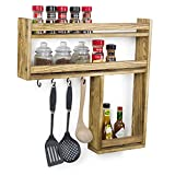 MyGift Wall-Mounted Burnt Wood 3-Tier Condiment & Spice Rack with Kitchen Utensil Hooks