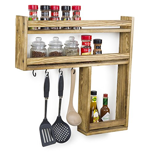MyGift Wall-Mounted Burnt Wood 3-Tier Condiment & Spice Rack with Kitchen Utensil Hooks by MyGift