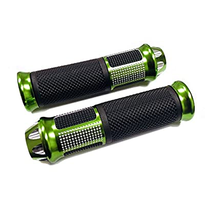 MMG Universal Handlebar Grips 7/8 inches, 22mm, Aluminum Soft Rubber Motorcycle Scooter, Diamond, Green: Automotive