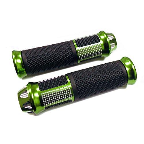 "Diamond Billet Grips - Universal Handlebar Grips 7/8"" (22mm) Aluminum Soft Rubber Motorcycle Scooter - Diamond - GREEN"