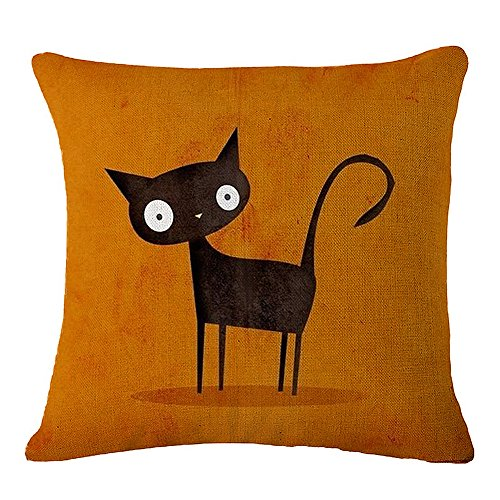 JES&MEDIS Cute Cat Pattern Pillow Case Linen Cotton Cushion Throw Pillow Cover Square 18 x 18