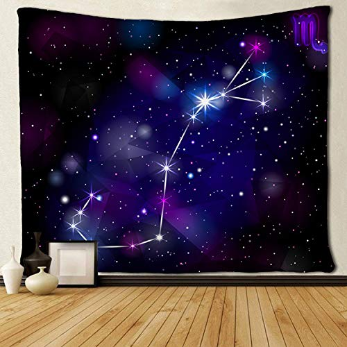 SARA NELL Wall Tapestry Scorpio Constellation with Triangular Tapestries Hippie Art Wall Hanging Throw Tablecloth 60X90 Inches for Bedroom Living Room Dorm Room