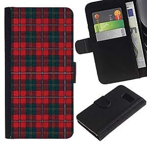 LASTONE PHONE CASE / Lujo Billetera de Cuero Caso del tirón Titular de la tarjeta Flip Carcasa Funda para Samsung Galaxy S6 SM-G920 / Teal Red Pattern Scottish Lines