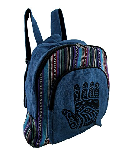 Zeckos Blue Hamsa Hand Cotton Canvas Tapestry Striped Fully Lined Backpack