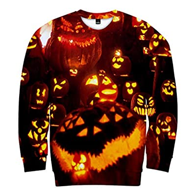 NIUQI Mens Casual Scary Halloween Lover 3D Print Party Long Sleeve NOhoodie Top Blouse