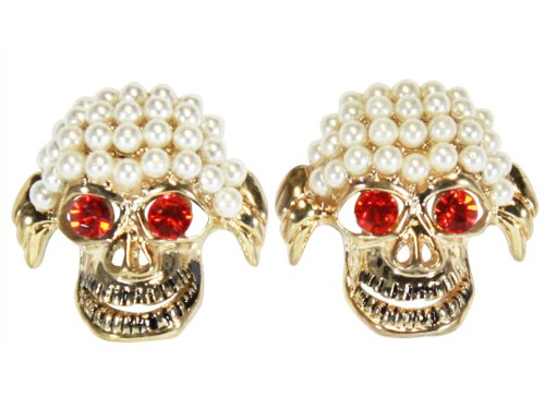 Bijoux De Ja Gold Tone Simulated Pearl Funny Skull Fashion Stud (Fashion History Costume Trends And Eras)