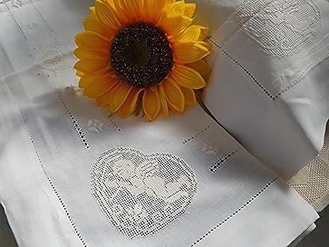Lenzuola Matrimoniali Con Angeli.Lenzuola In Lino 100 Con Ricamo Sfilato Siciliano Angeli A Mano
