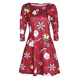 Womens 3/4 Sleeve Dress KIKOY Christmas Santa Snowman Retro Casual Swing Dress