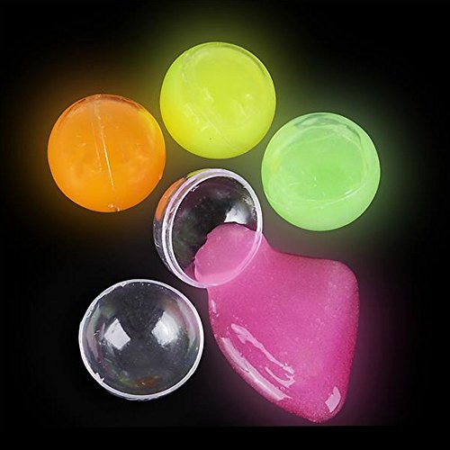 Kidsco Glow in the Dark Putty - 12 Pack - 4 Neon Colors Educational Fidget Toy in Clear Balls - Ideal for Relaxation and Sensory Stimulation, Event Prizes, Goody Bags, Activity Set, Slime Parties by Kidsco