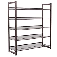 SONGMICS Shoe Rack, Metal Mesh Shoe Shelf Storage