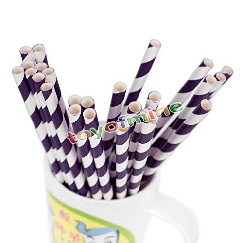 MIJORA-25/50/100pcs Biodegradable Paper Drinking Straws Striped Birthday Party Wedding(purple 50 PCS