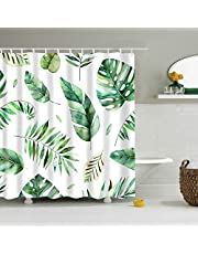 """Shower Curtains No Liner, Mantto Waterproof Polyester Shower Curtain Fabric Set with Plastic Hooks for Bathroom Decorations, Modern Concise Design 72"""" x 72""""(Leaves 2 YUTZ170818)"""