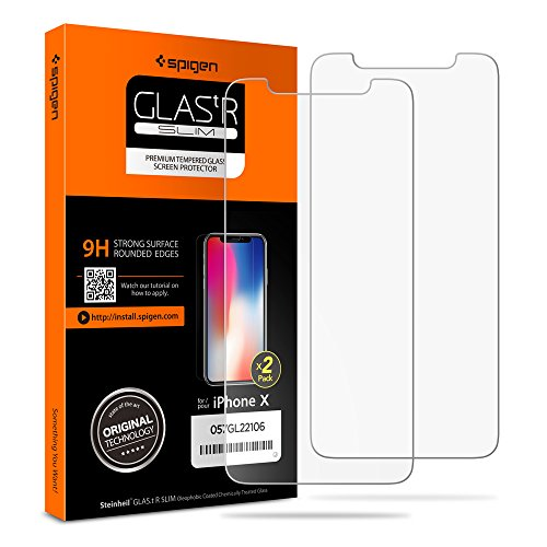 Spigen iPhone X Screen Protector Tempered Glass [Case Friendly] 2 Pack for Apple iPhone X / 10 (2017)