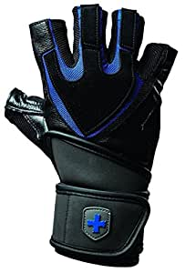 Harbinger Training Grip Non-Wristwrap Weightlifting Gloves with TechGel-Padded Leather Palm (Old style), Large