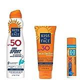Kiss My Face Signature Sun Bundles - Cool Sport Sunscreen spf50 Sunblock, 6 ounce, Face Factor Sunscreen spf30 Sunblock, 2 ounce, and Sport Lip Balm Sunscreen spf30 Sunblock, .15 ounce