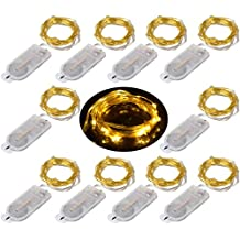 LXINGS 10PCS LED Mini String Fairy Moon Lights Battery Powered 2M/20LEDs,Bright Golden Wire,Costume Wedding Party Centerpiece Bottle Lights Decoration Christmas Lighting (Warm White)
