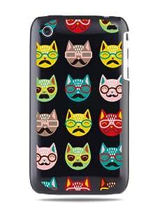 """GRÜV Case Design """"Gatos Cómicos Disfrazados"""" - Diseñador Mejor Calidad de Impresión en Funda Carcasa Rigida Negra - para iPhone 3 3G 3GS"""