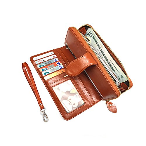 Womens Wallet Genuine Leather with Zipper Pocket, Multi Card Case Wallet with Removable Wristlet Strap, Zipper Clutch Wallets (Brown) by Eurlove