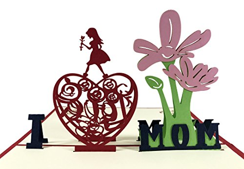 KINREX Mother's Day Cards - 3D Pop Up Greeting Cards - I LOVE MOM