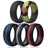 Saco Band Silicone Wedding Rings - Middle Line & Plain (Middle Line Blue Red Gray, Solid Black, Camo, 11.5-12 (21.3mm))