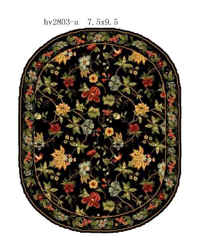 Safavieh Chelsea Collection HK311A Hand-Hooked Black Premium Wool Oval Area Rug (7'6