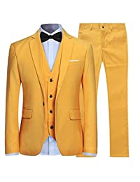 Tsbridal Men's Slim Fit 3 Piece Suit One Button Blazer Tux Vest & Trousers