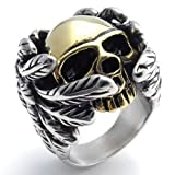 KONOV Stainless Steel Band Gothic Wing Skull Biker Men's Ring- Size 11