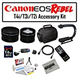 Deluxe Accessory Kit for Canon EOS Rebel T2i T3i T4i with Opteka Microfiber Deluxe Photo / Video Camera Gadget Bag, Opteka X-Grip Professional Camera / Camcorder Action Stabilizing Handle, 16GB SDHC High Speed Memory Card, Opteka Wide and Telephoto Lens S