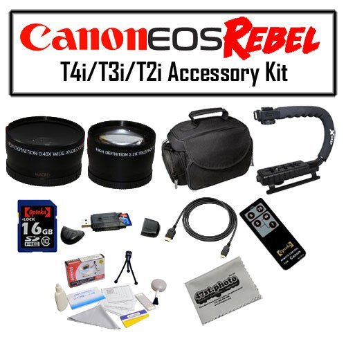 Deluxe Accessory Kit for Canon EOS Rebel T2i T3i T4i with Opteka Microfiber Deluxe Photo / Video Camera Gadget Bag, Opteka X-Grip Professional Camera / Camcorder Action Stabilizing Handle, 16GB SDHC High Speed Memory Card, Opteka Wide and Telephoto Lens S by 47th Street Photo