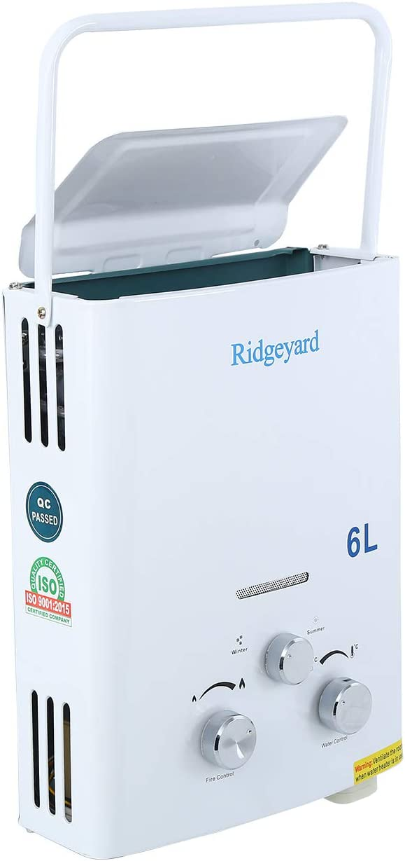 Ridgeyard 6L Portable LPG Propane Gas Tankless Hot Instant Water Heater Boiler Day Gift