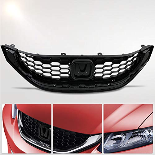 - Make Auto Parts Manufacturing Black Grille Grill Assembly For Honda Civic Sedan 2013 2014 2015 - HO1200216