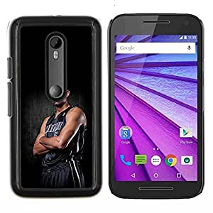 Miami 5 Baloncesto- Metal de aluminio y de plástico duro Caja del teléfono - Negro - Motorola Moto G (3rd gen) / G3
