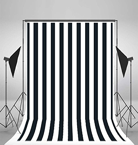 Laeacco 5x7FT Vinyl Photography Background Nave Blue Dark Blurry Black White Stripes Backdrop Party Artistic Children Adults Photo Backdrop 1.5(W)x2.2(H)M Photo Studio Prop from Laeacco