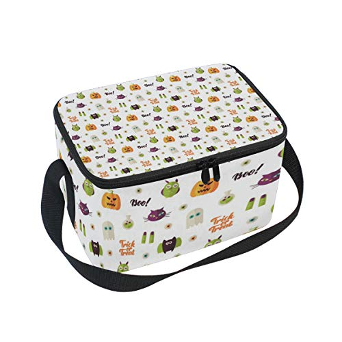 (Boo Halloween Seamless Pattern Vector Large Insulated Lunch Bag for Women Men and Kids,Soft Leak Proof Cooler Lunch Box Adjustable Shoulder Strap Zipper for Work Picnic)