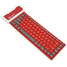 Flexible Bluetooth Keyboard, Alotm 85 Keys Pocket Size Mini Portable Wireless Keyboard Silicone Roll-up Keyboard for Tablet, Smartphone, Laptop, Built-in Rechargeable Lithium Battery (Red)