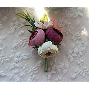 MOJUN Artificial Peony Buds Flower Groom Boutonniere for Wedding Party Prom Homecoming 59