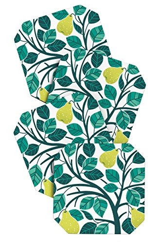 (Deny Designs Lucie Rice Pear Tree Coasters, Set of 4)